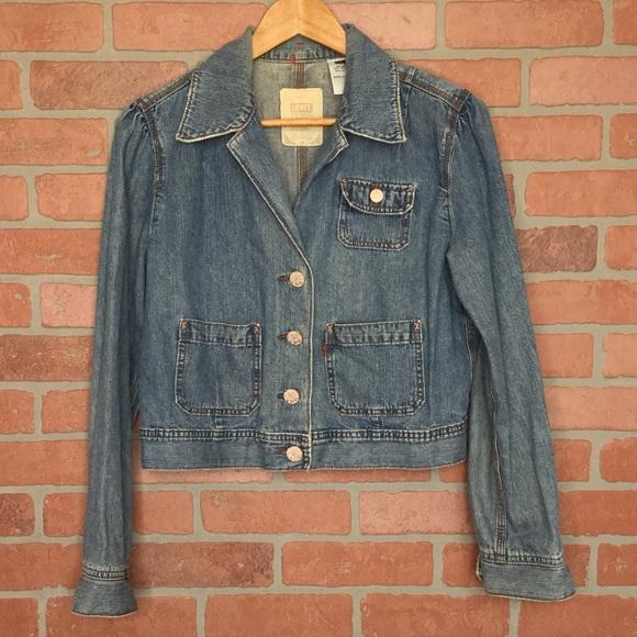 Levi's women's denim jean jacket L cropped (4G52)